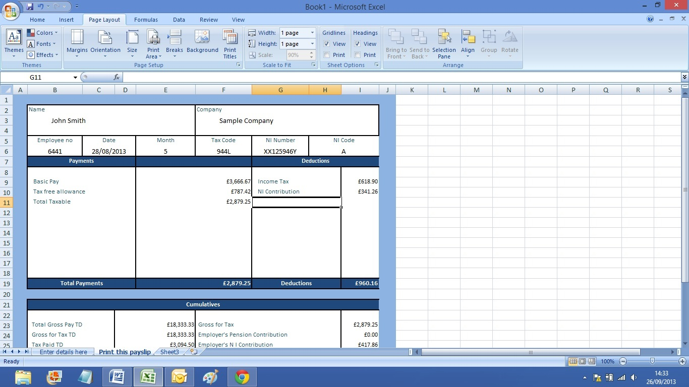 payslip calculator ready to print in excel