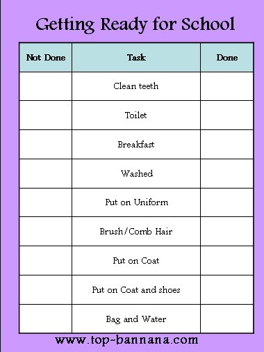 Getting Ready For School Chart Checklist Free Printable Get Yours Now